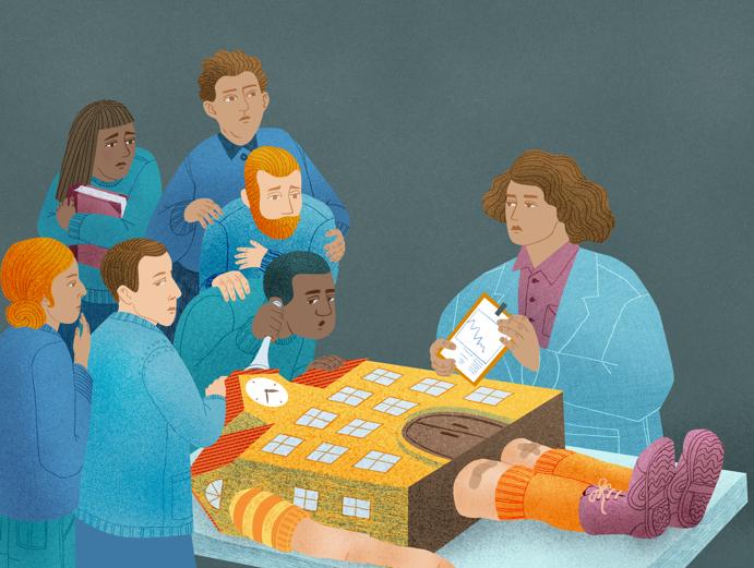 Att vända en skola. Illustration Felicia Fortes